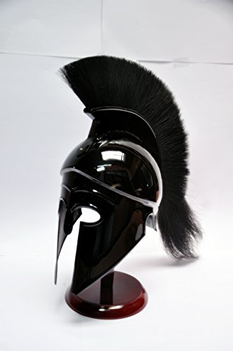 Medieval Roman Spartan GREEK CORINTHIAN HELMET Larp Sca Role-Play Armor Helmet Greek Corinthian Helmet with black Plume & Black Finish]()