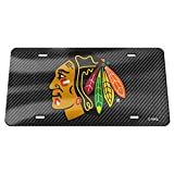 Chicago Blackhawks Carbon Fiber Design Premium Laser Tag License Plate Hockey