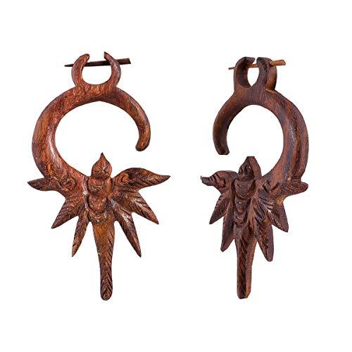 Crafted studio Women's Tibetan Antique Wooden Carved African Tribal Big Fake Gauge Earrings 3.4