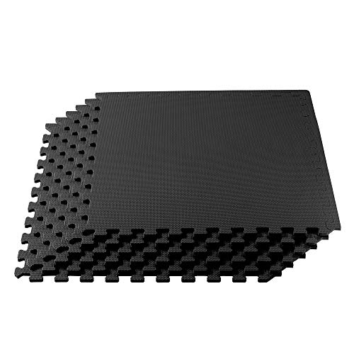 We Sell Mats Multipurpose Exercise Floor Mat with EVA Foam, Interlocking Tiles, Anti-Fatigue, for Home or Gym, 240 Square Feet (60 Tiles), 24 x 24 x 3/8 Inches, Black