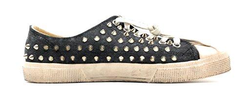 Gienchi Met De Hand Gemaakt In Italië Distressed Bezaaid Denim Sneaker (11 Us)