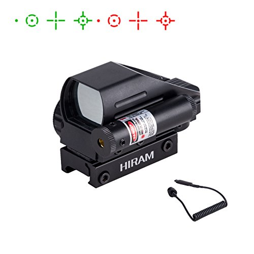 Hiram 1x22x33 Holographic Reflex Scope Sight with 4 Reticles Red and Green Dot with Red Laser