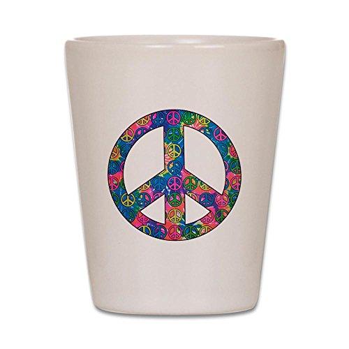 Shot Glass White of Peace Symbols Inside Tye Dye Symbol