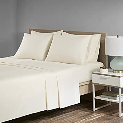 "Comfort Spaces Ultra Soft, Thick & Durable - Microfiber Plush Twill - Velvet Feel - Deluxe Sheet Set with Deep Pocket - 4 Piece - Twin - Ivory - 1 Flat Sheet, 1 Fitted Sheet and 2 Pillow Cases - PRODUCT FEATURES - High quality sheet set features deep pocket to easily fit up to 16"" thick mattress. It comes with thicker microfiber material making it much more durable against daily use MATERIAL & PATTERN - Solid color on Microfiber twill fabric. Microfiber twill fabric is 25% heavier than regular microfiber fabric, and it is also more durable than microfiber. Microfiber twill fabric is brushed, which gives it a better hand feel similar to ultra soft and comfortable velvet. Its subtle shine making it a higher-end, luxurious alternative MEASUREMENT - 1 Flat Sheet - 66(W)x96(L) inches each; 1 Fitted sheet 39(W)x75(L)x14(D) inches each; 2 Pillow Cases 20(W)X30(L) - sheet-sets, bedroom-sheets-comforters, bedroom - 419PQ6lzsuL. SS400  -"
