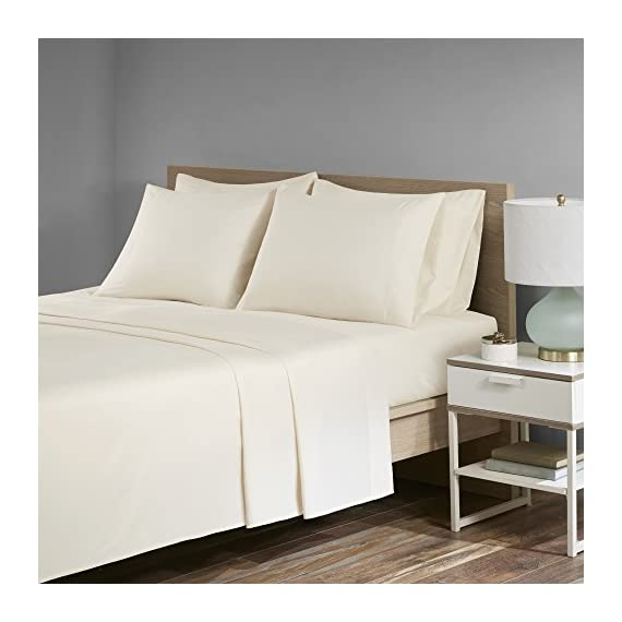 """Comfort Spaces Ultra Soft, Thick & Durable - Microfiber Plush Twill - Velvet Feel - Deluxe Sheet Set with Deep Pocket - 4 Piece - Twin - Ivory - 1 Flat Sheet, 1 Fitted Sheet and 2 Pillow Cases - PRODUCT FEATURES - High quality sheet set features deep pocket to easily fit up to 16"""" thick mattress. It comes with thicker microfiber material making it much more durable against daily use MATERIAL & PATTERN - Solid color on Microfiber twill fabric. Microfiber twill fabric is 25% heavier than regular microfiber fabric, and it is also more durable than microfiber. Microfiber twill fabric is brushed, which gives it a better hand feel similar to ultra soft and comfortable velvet. Its subtle shine making it a higher-end, luxurious alternative MEASUREMENT - 1 Flat Sheet - 66(W)x96(L) inches each; 1 Fitted sheet 39(W)x75(L)x14(D) inches each; 2 Pillow Cases 20(W)X30(L) - sheet-sets, bedroom-sheets-comforters, bedroom - 419PQ6lzsuL. SS570  -"""