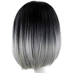 Fudule Women Wigs, Short Bob Wig for Women Gradient Color Straight Hair Wigs Heat Resistant Fiber Synthetic Human Hair Wigs