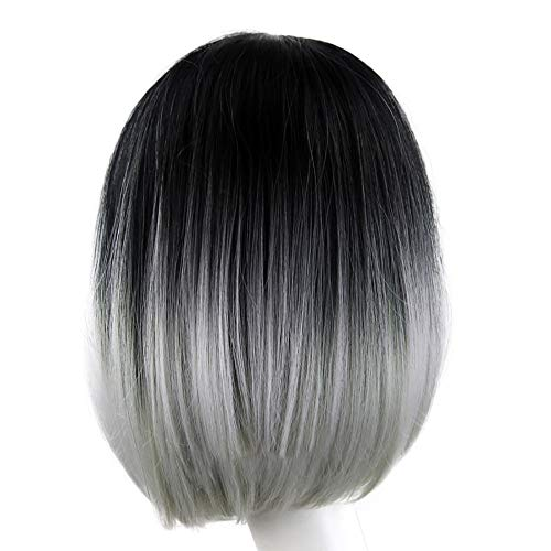 Inkach Clearance Short Straight Wig, Womens Ombre Grey