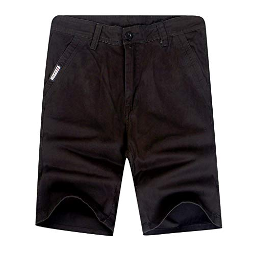 Men's Rugged Simple Outdoor Elastic Cargo Shorts, Mmnote Workout Lightweight Comfort Tactical Shorts(Waist:28.15''-36.02'') Black -