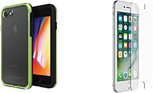 Lifeproof SLAM Series Case for iPhone SE (2nd gen - 2020) and iPhone 8/7 (NOT Plus) (Clear/Lime/Black) & Alpha Glass Series Screen Protector for iPhone 6/6s/7/8 (NOT Plus) - Retail Packaging - Clear