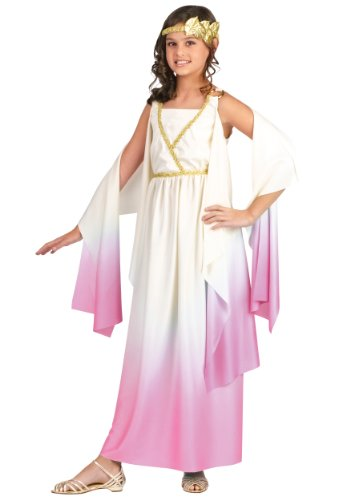 Halloween Costumes for Girls - Kids Roman Greek Goddess Size 8-10 Costume - Girls Athena Party Toga Costume Off-White