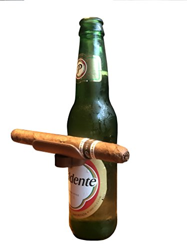 CigarzUp Cigar Holder. Bronze. The Clip On Cigar Accessory Snaps to Almost Any Bottle, Can or Glass to Keep Your Cigar in Place -