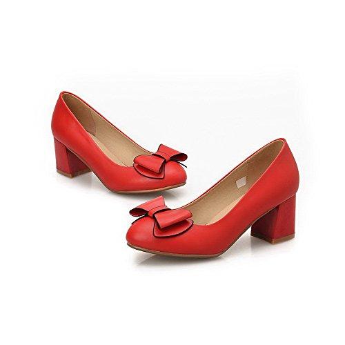 VogueZone009 Damen Rund Zehe Mittler Absatz Weiches Material Rein Ziehen  auf Pumps Schuhe Rot ...
