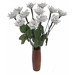 JustPaperRoses 25th Wedding Annniversary gift of traditional silver rose bouquets by year (25th Silver) 26
