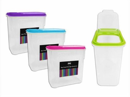 4 x 2 Litre Plastic Pet Pasta Cereal Rice Dry Food Storage Flip Lid Container Dispenser