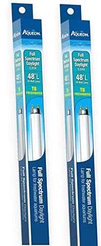 Fluorescent Aquarium Spectrum Lamp ((2 Pack) Aqueon 48-Inch Full-Spectrum Daylight T8 Fluorescent Lamp, 32-Watt)