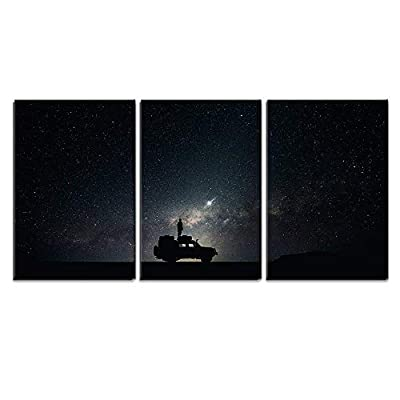 3 Piece Canvas Wall Art - Man Stand on The Car Under Starry Night - Modern Home Art Stretched and Framed Ready to Hang - 16