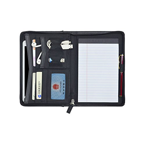 Godery Padfolio/Portfolio, Leather Zippered Padfolio Portfolio Binder 5 x 8 Legal Writing Pad, Professional Business Portfolio for Men & Woman, Card Holder, Notepad Clipboard Holder (Black)