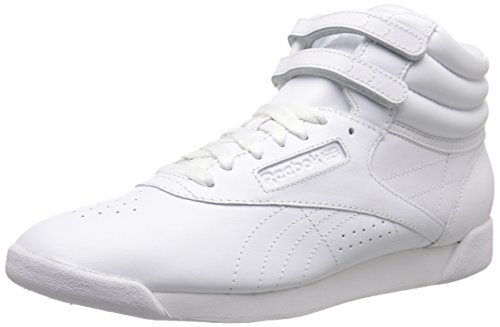 Reebok Women's Freestyle Hi Lace-up Fashion Sneaker,White/White/White,8.5 M US