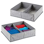 mDesign Fabric Dresser Drawer and Closet Storage Organizer for Underwear, Socks, Bras, Tights, Leggings - Pack of 2, 2 Compartments Each, Large, Gray