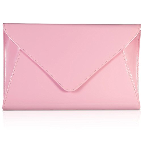 Designer Evening Clutch Envelope Pink Patent Zarla UK Bridal Bags Ladies Flat Party Women R0qcHA