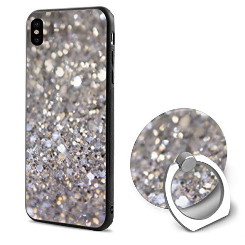 (PengYou iPhone X Case,Glitter Wallpaper Shades Silver Black Protective Cover,Compatible Cell Phone Ring Holder Cases,Printed Shockproof Defender)