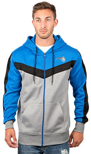 fan products of NBA Men's Orlando Magic Full Zip Hoodie Sweatshirt Jacket Contrast Back Cut, XX-Large, Blue
