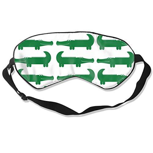 100% Silk Eye Mask for Sleeping, Super-Smooth Sleep Mask for Women Men Kids, Comfortable Eye Cover for A Full Night's Sleep, Perfect Light-Proof, Pressure Free (Cartoon Green Alligator) ()
