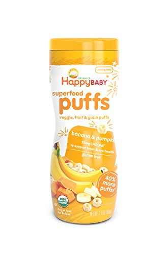 Happy Baby Organic Superfood Puffs Banana & Pumpkin, 2.1 Ounce Canister (Pack of 6) (Packaging May Vary)