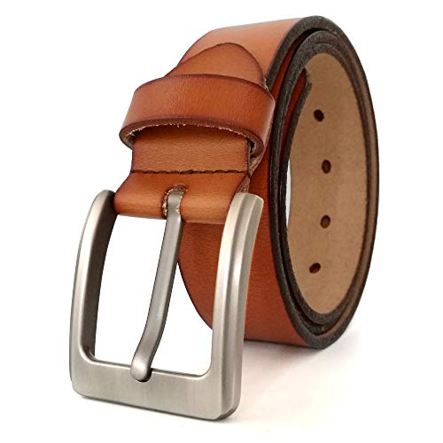 (JingHao Belts for Men Genuine Leather Casual Belt for Dress Jeans Regular Big and Tall Black Brown Size 28