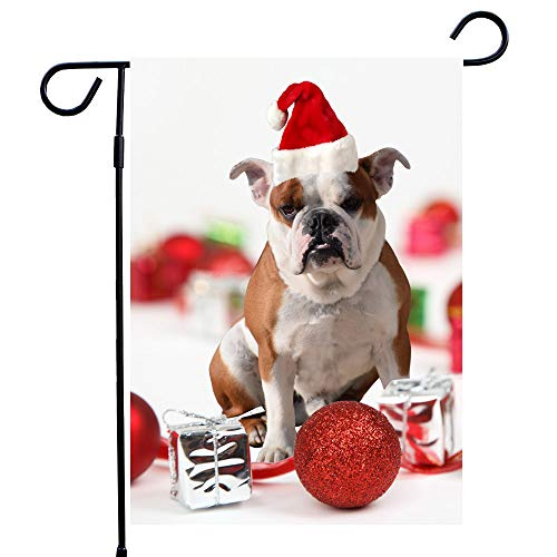 Bulldog Christmas Garden Flag Dog House Flag A Perfect Home Decor Dog Lovers Dog Lovers Flags Dog Christmas House Flag