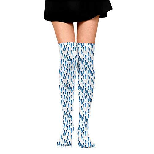 Men's Socks Home Decor,Raindrops Fall Autumn Ritual Climate Liquid Gravity Water Cycle Air Mass Image,Blue White,socks for toddler boys non skid