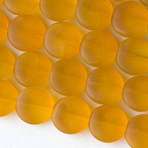 Cherry Blossom Beads Saffron Yellow Cultured Sea Glass Beads 15mm Coin - 7.5 Inch - Blossoms Saffron