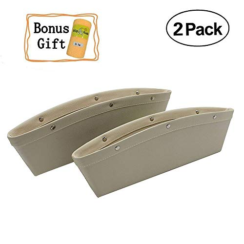 2PCS Car Seat Gap Filler Car Pocket Organizer Seat Console Gap Filler Side-Premium Quality PU Leather Car Gap Filler and Organizer in Between Front Seat and Console-Beige