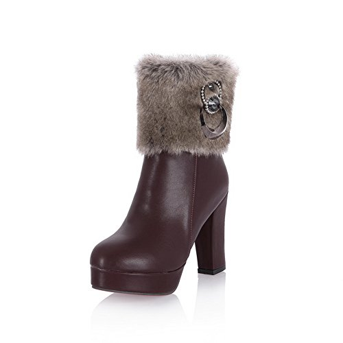 Brown Ladies Leather Platform Chunky Imitated Zipper Heels Boots 1TO9 OqwfPv