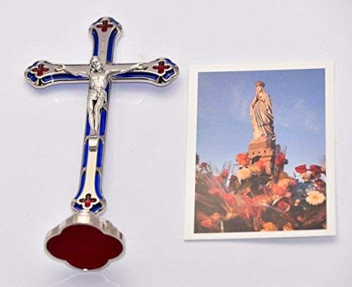 12420 Silver Standing Metal Crucifix with Blue /& Red Enamel