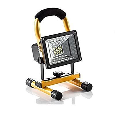 Camping Lights, soled Rechargeable Work Lights Waterproof Outdoor Camping Lights with Emergency Light Flashing Mode, Built-in Lithium Batteries, 15W 24LED,2 USB Ports to Charge Mobile Devices Yellow