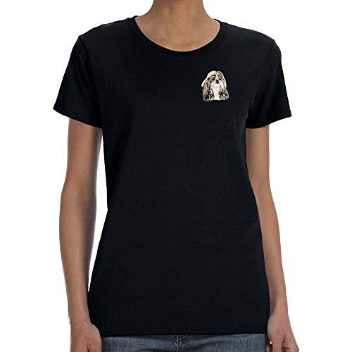 (Cherrybrook Dog Breed Embroidered Womens T-Shirts - Medium - Black - Shih Tzu)