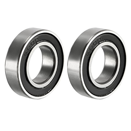 uxcell 6800-2RS Deep Groove Ball Bearing Double Sealed 1180800, 10mm x 19mm x 5mm Carbon Steel Bearings (Pack of 2) 5mm Sealed Ball Bearings