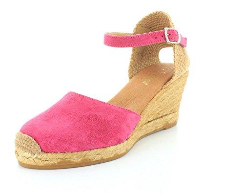 Azura Womens Antoine Buckle Cap Toe Wedge Sandals Fuchsia Suede SnlTZ2Cmfz