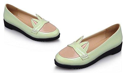 Sfnld Dames Leuke Ronde Neus Laag Uitgesneden Cartoons Contrasterende Kleur Slip Op Loafers Schoenen Groen