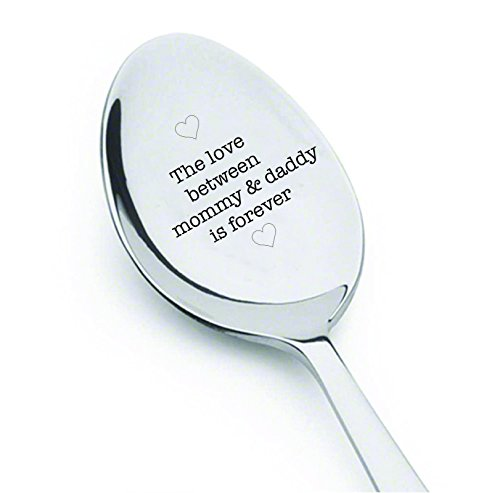 The love between mommy and daddy is forever - cute spoon - engraved spoon - coffer lover - gift for mom - We're Having a Baby - engraved Spoon for Pregnancy Announcement - dad gifts#SP_001