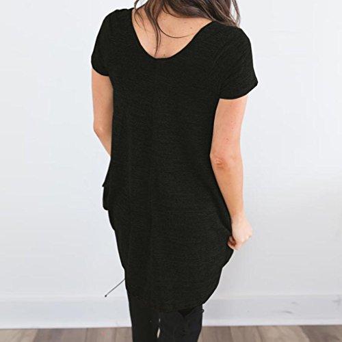 Shirt Shirt Taille T Grande Noir Col Tee Manches Ete HUI Top Lache Rond irrgulier Femme Chic Ourlet HUI Tunique Courtes Printemps Soiree Haut qOXwFST
