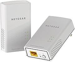 Netgear PL1000-100PES - Kit de adaptadores PowerLine Gigabit (1000 Mbps, 1 puerto Ethernet Gigabit), blanco