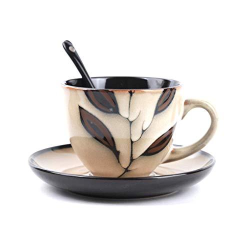 ChenDZ Taza de café de Porcelana Europea fijada Taza de té de la Tarde Creativa británica con Taza de té roja Taza de...