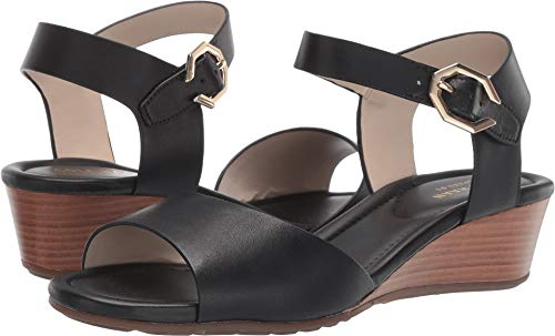 Cole Haan Women's Evette Grand Wedge Sandal Black Leather 9 B US