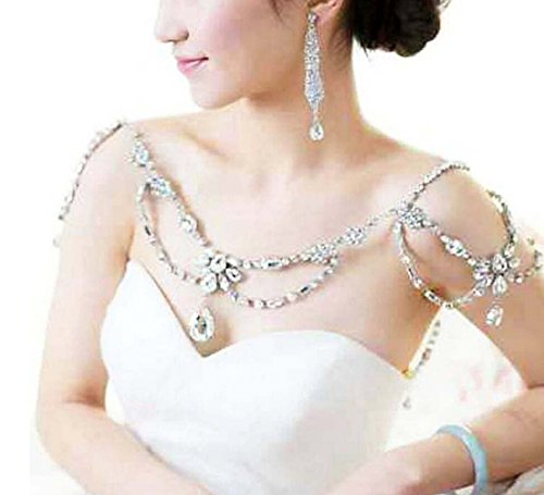 Wiipu Women Wedding Jewelry Crystal Rhinestone Shoulder Deco Bra Strap Halter (Chain Necklace Halter)