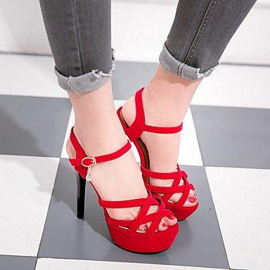 LvYuan Mujer-Tacón Stiletto-Zapatos del club-Sandalias-Oficina y Trabajo Vestido Fiesta y Noche-Vellón-Negro Azul Rojo Blue
