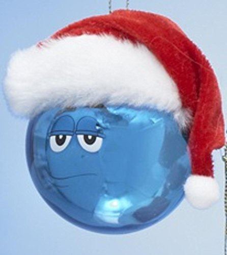 - Kurt Adler Chocolate Shop Blue M&M with Santa Hat Glass Christmas Ball Ornament 2.5