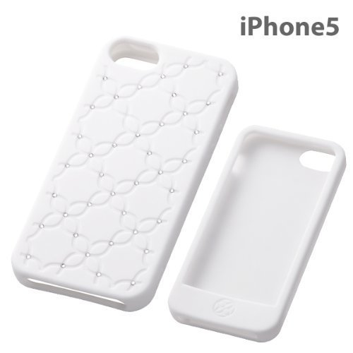 Rhinestone Floral Silicone iPhone 5 Case (White)
