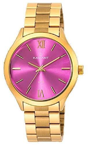 RA330204 Reloj Radiant Unisex, analógico, caja y brazalete de acero dorado, esfera rosa, sumergible 50 metros, garantía 2 años.: Amazon.es: Relojes